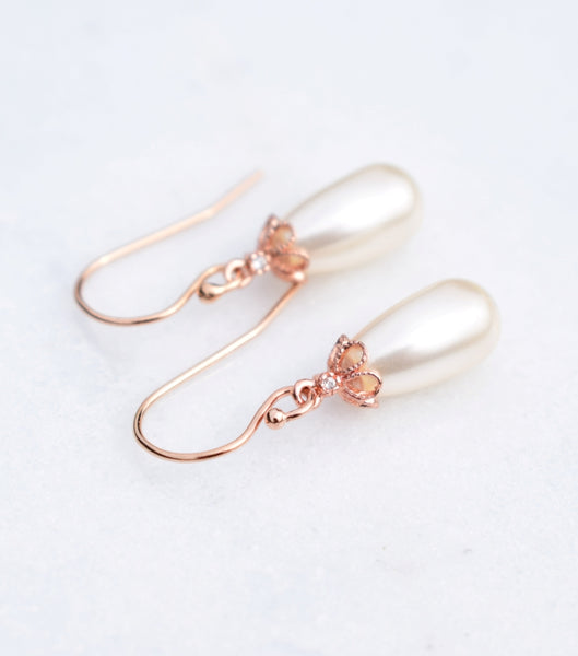 Open Flower Pearl Drop Earrings in Rose Gold, earrings - Katherine Swaine