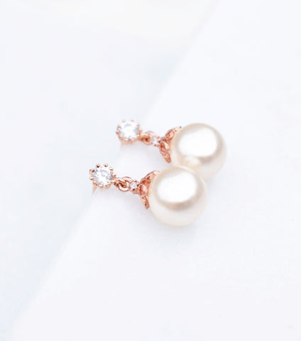 Open Flower Round Pearl Stud Earrings in Rose Gold, earrings - Katherine Swaine