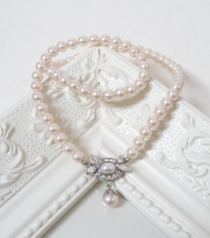 Oval Embellished Pearl Bridal Necklace, Necklace - Katherine Swaine