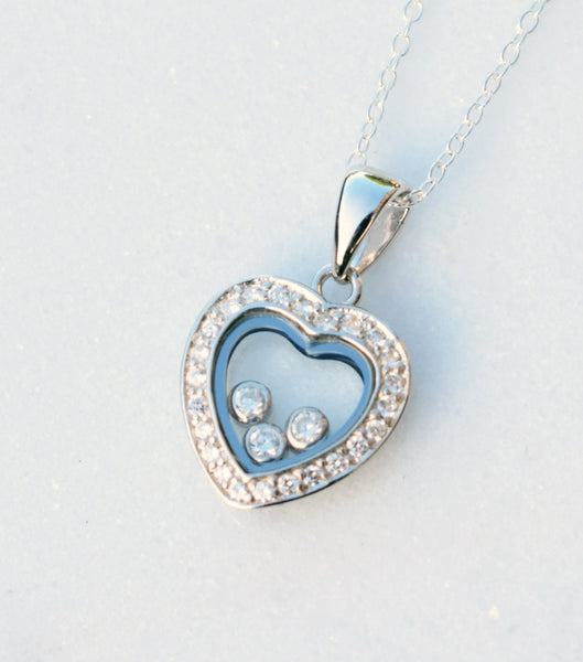 Pave Silver Heart Pendant Necklace, Necklace - Katherine Swaine