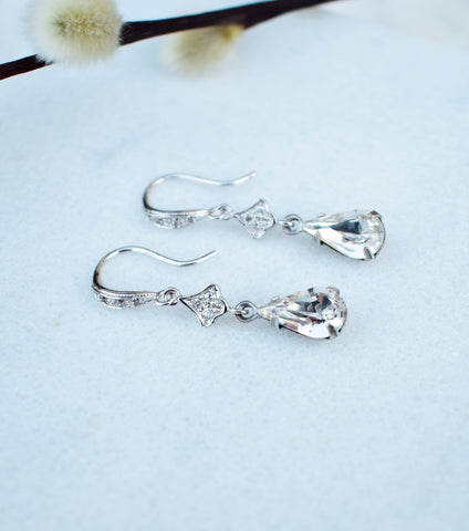 Pave Set Crystal Drop Earrings - Katherine Swaine