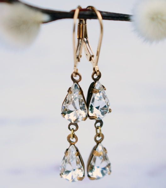 Pear-cut Crystal Droplet Earrings, earrings - Katherine Swaine