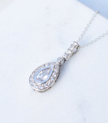 Pear Shaped Silver Pave Drop Necklace, Necklace - Katherine Swaine