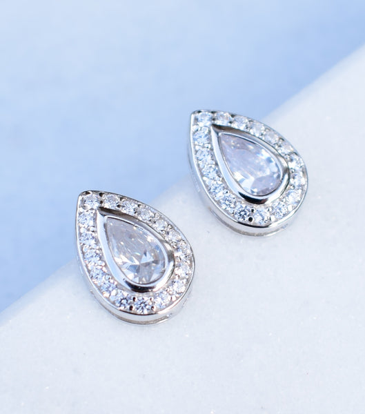 Silver Pear Shaped Pave Stud Earrings, Katherine Swaine