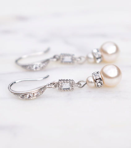 Pearl And Crystal Baguette Long Drop Earrings, earrings - Katherine Swaine