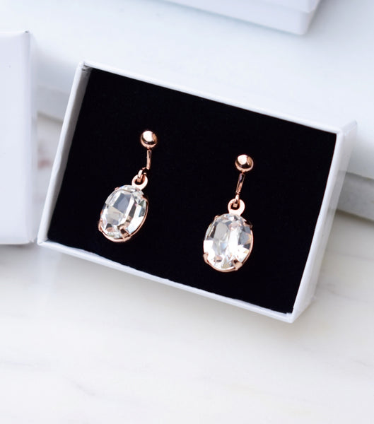 Rose Gold Oval Crystal Clip On Earrings, earrings - Katherine Swaine