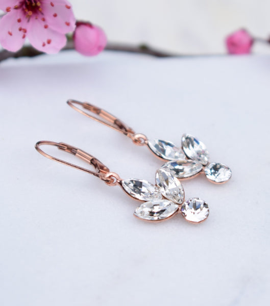 Rose Gold Rhinestone Cluster Earrings, earrings - Katherine Swaine
