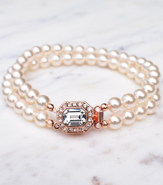 Rose Gold Vintage Inspired Two String Pearl Bracelet, Katherine Swaine