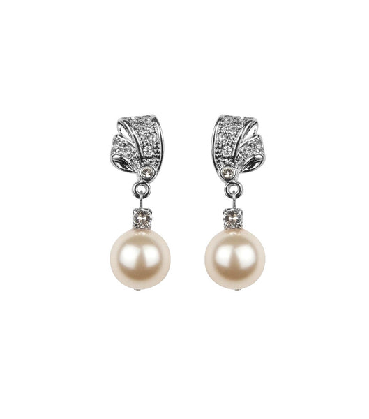 Antique Style Rhinestone and Pearl Earrings - Katherine Swaine