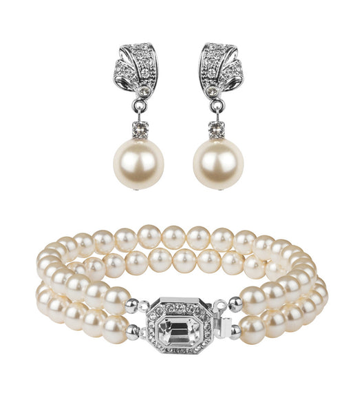 Rhinestone And Pearl Earring And Bracelet Set, Jewellery Sets - Katherine Swaine