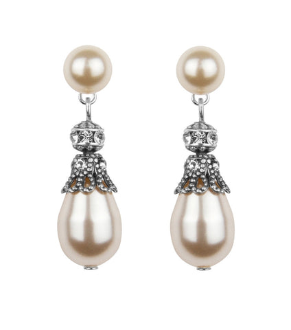 Rhinestone Embellished Pearl Drop Earrings - Katherine Swaine
