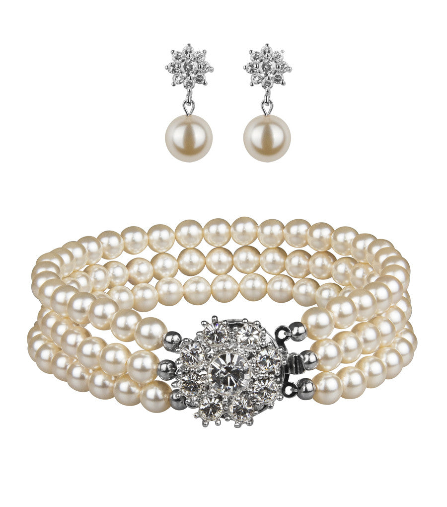 Rhinestone Flower Earring And Bracelet Set, Jewellery Sets - Katherine Swaine
