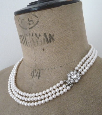 Rhinestone Flower Three String Pearl Necklace, Necklace - Katherine Swaine
