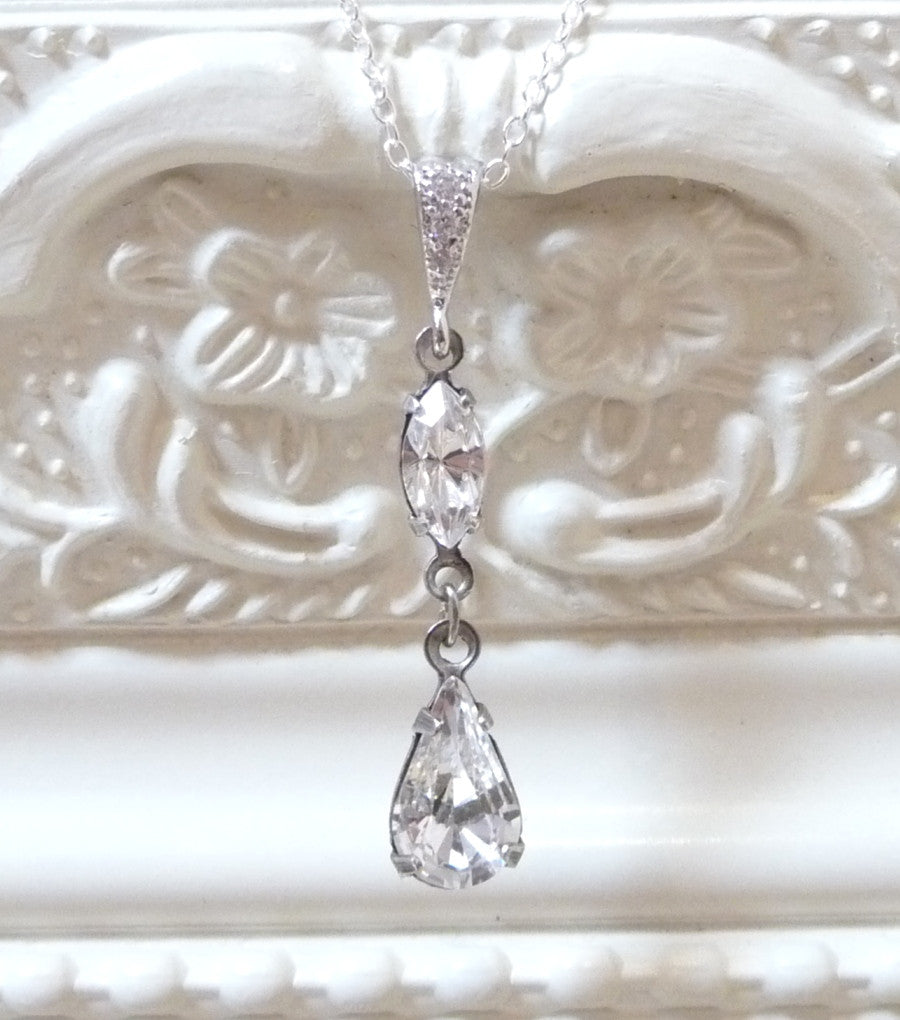 Rhinestone Long Drop Pendant Necklace, Necklace - Katherine Swaine
