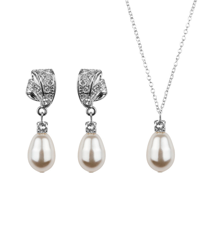 Rhinestone And Teardrop Pearl Earring and Necklace Set, Jewellery Sets - Katherine Swaine