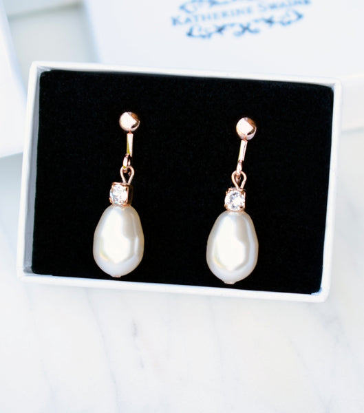 Rhinestone And Teardrop Pearl Clip On Earrings in Rose Gold, earrings - Katherine Swaine
