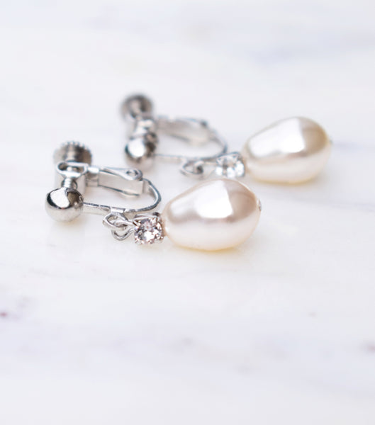 Rhinestone And Teardrop Pearl Clip On Earrings in Silver, earrings - Katherine Swaine