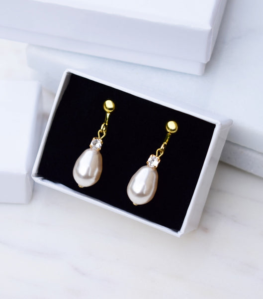 Rhinestone And Teardrop Pearl Clip On Earrings in Yellow Gold, earrings - Katherine Swaine