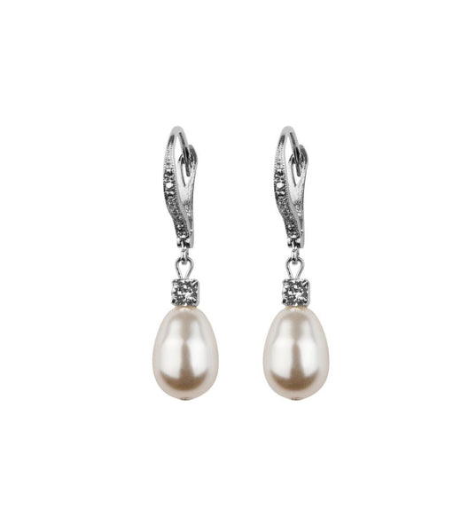 Rhinestone And Pearl Leverback Earrings, earrings - Katherine Swaine