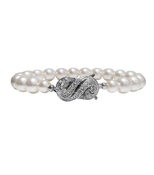Rhinestone and Pearl Single String Bracelet, bracelet - Katherine Swaine