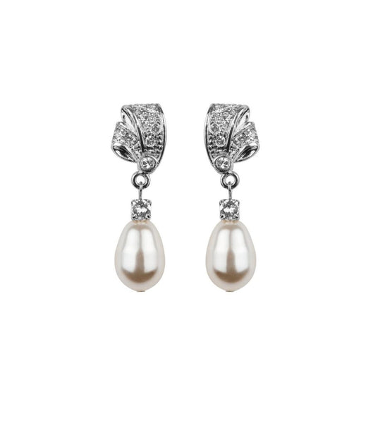 Rhinestone And Teardrop Pearl Earrings, earrings - Katherine Swaine