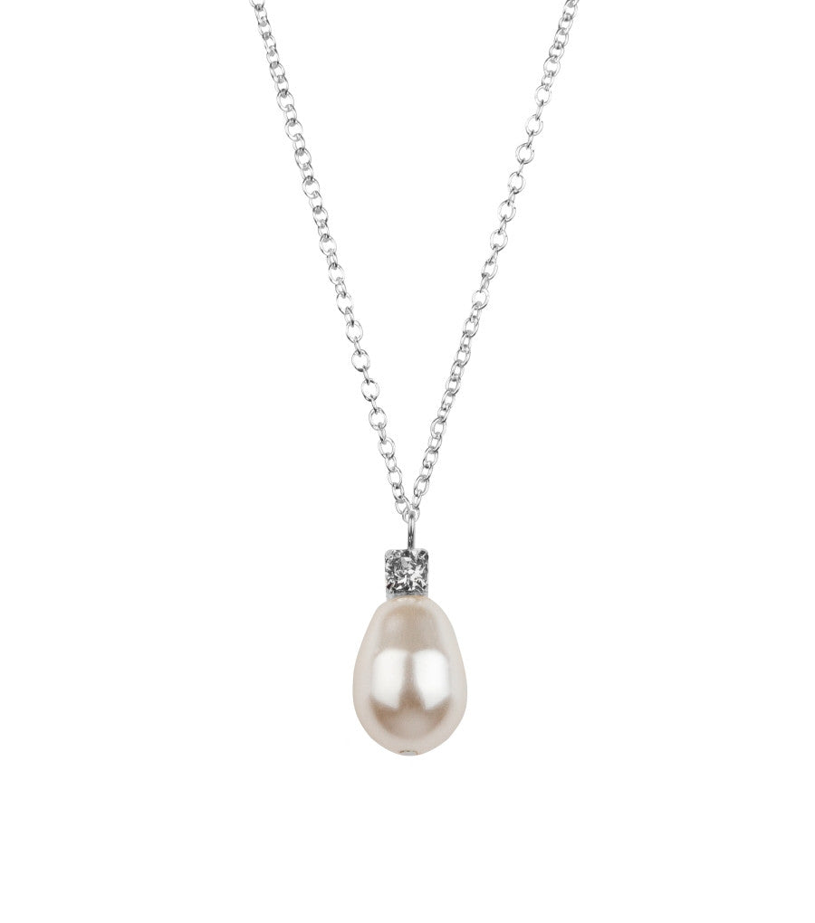 Rhinestone And Teardrop Pearl Pendant Necklace,  - Katherine Swaine