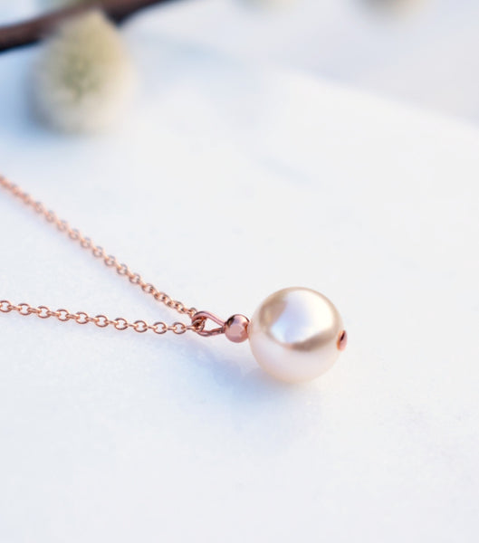 Rose Gold Ball Pendant Necklace, Necklace - Katherine Swaine