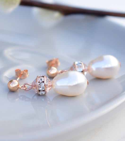 Rose Gold Crystal Drop Earrings, Katherine Swaine