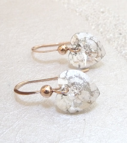 KATHERINE SWAINE, ROSE GOLD CRYSTAL HEART EARRINGS
