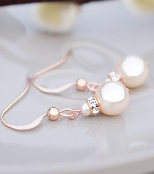 Rose Gold Crystal And Pearl Earrings, earrings - Katherine Swaine