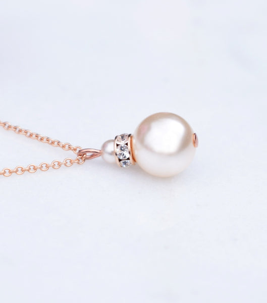 Rose Gold Crystal And Pearl Pendant Necklace - Katherine Swaine
