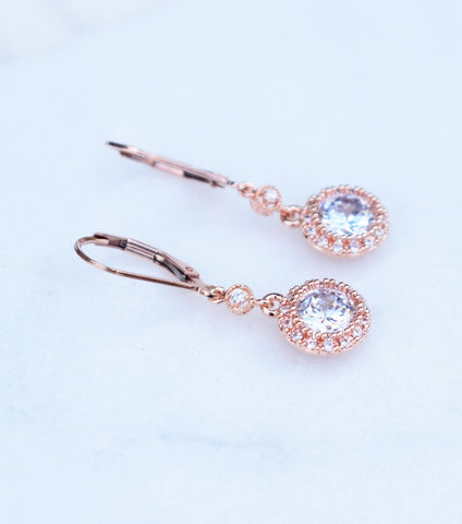 Rose Gold Cubic Zirconia Long Drop Leverback Earrings, earrings - Katherine Swaine