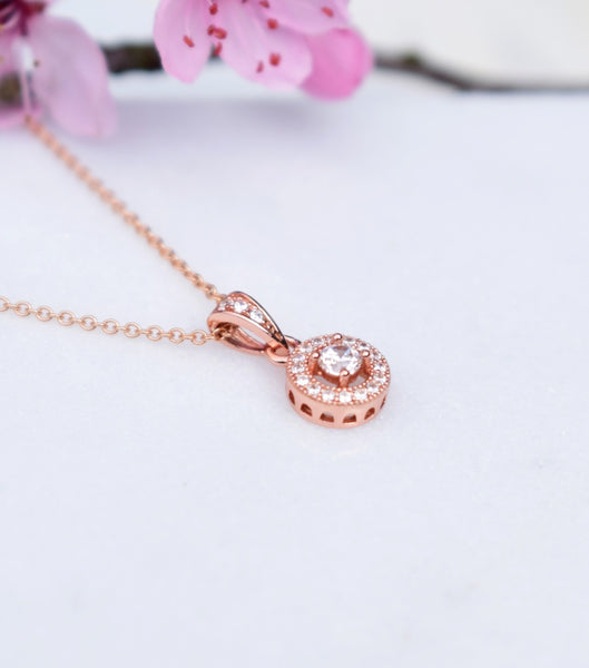 Katherine Swaine, Rose Gold Cubic Zirconia Pendant Necklace