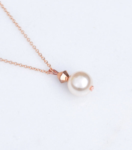 Rose Gold Pearl Drop Necklace, Necklace - Katherine Swaine
