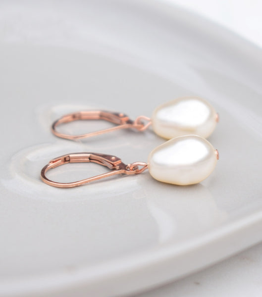 Rose Gold Lever Back Earrings - Katherine Swaine