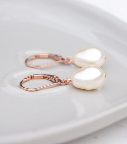 Rose Gold Lever Back Earrings, earrings - Katherine Swaine