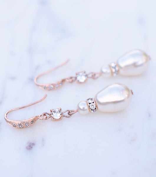 Rose Gold Long Teardrop Pearl Earrings - Katherine Swaine