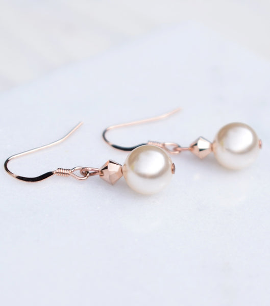 Rose Gold Pearl Drop Earrings, earrings - Katherine Swaine
