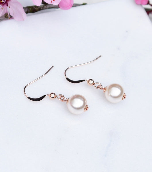 Rose Gold Pearl Fish Hook Earrings - Katherine Swaine