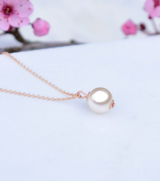 Rose Gold Pearl Pendant Necklace - Katherine Swaine