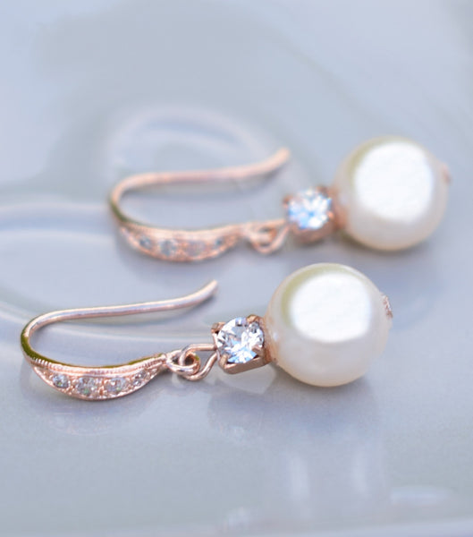 Rose Gold Rhinestone And Pearl Fish Hook Earrings, earrings - Katherine Swaine
