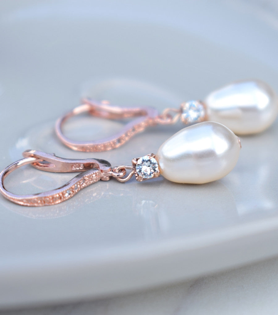 Rose Gold Rhinestone and Pearl Leverback Earrings, earrings - Katherine Swaine