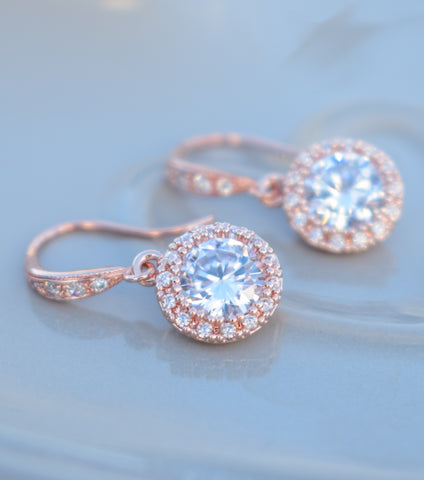 Rose Gold Round Pave Drop Earrings, Katherine swaine