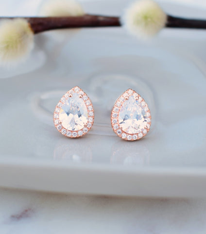 Rose Gold Teardrop Cubic Zirconia Stud Earrings, Katherine Swaine