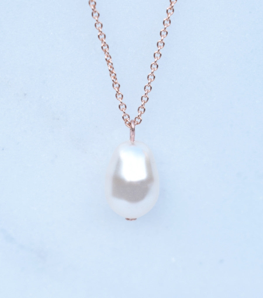 f0b25050a Rose Gold Teardrop Pearl Pendant Necklace, Necklace - Katherine Swaine