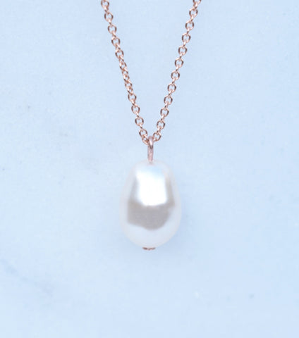 Rose Gold Teardrop Pearl Pendant Necklace, Necklace - Katherine Swaine