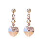 Rose Gold Crystal Heart Drop Earrings, Katherine Swaine