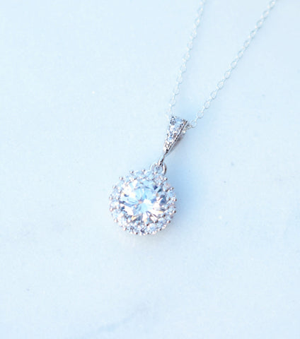 Round Pave Cubic Zirconia Pendant Necklace, Necklace - Katherine Swaine