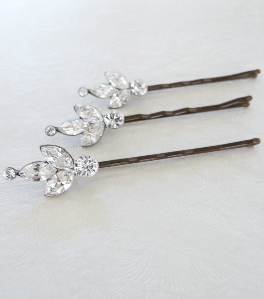 Set Of Three Rhinestone Cluster Hair Grips, Hair Pins and Grips - Katherine Swaine