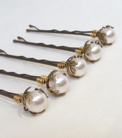 Set Of Five Antique Style Leaf Hair Grips, Hair Pins and Grips - Katherine Swaine